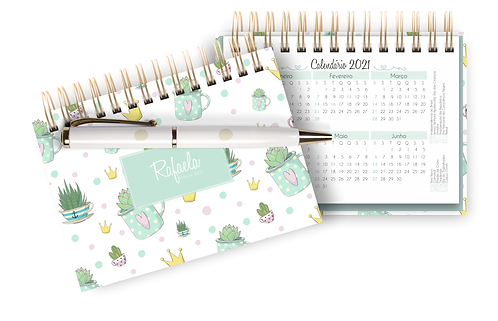 Mini Planner Permanente A6 Cactus e Flamingos 2021