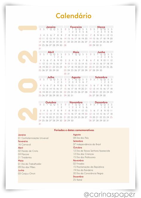 Arquivo digital Calendário2021 Agenda Emoji Permanente