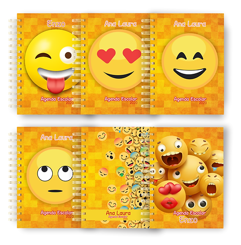 COMBO Agenda Escolar Teen Emoji 2020 + Cadernos combinando