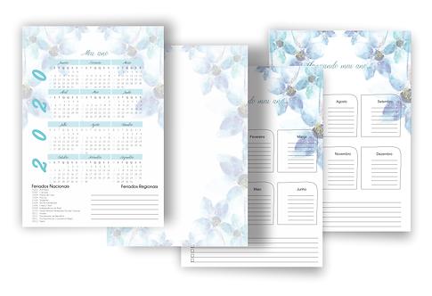 Calendário e visão anual Planner Teen Tiffany atualizado 2020