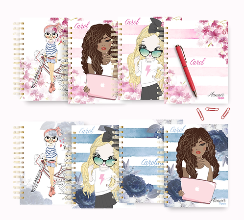COMBO Planner Teen Floral Azul Rosa Permanente