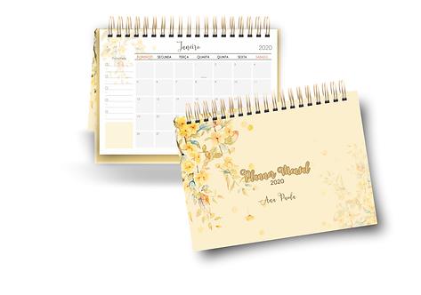 Desk Planner Floral Amarelo 2020