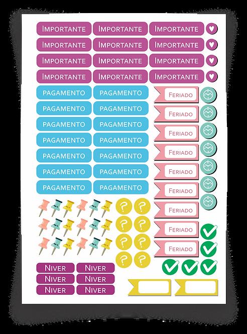 Arquivo digital Cartela de Adesivo para Planner