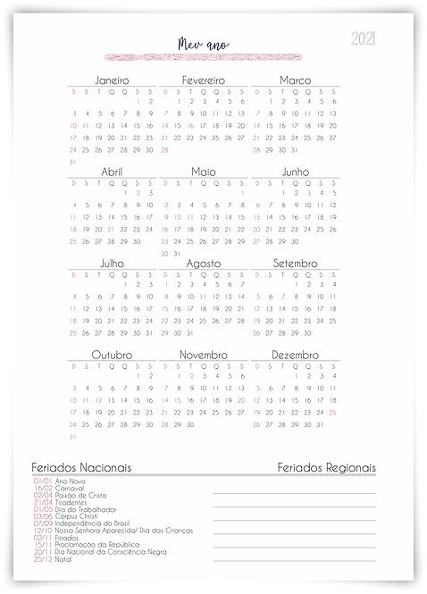 Insert Calendário 2021 Planner Salão de Beleza Permanente