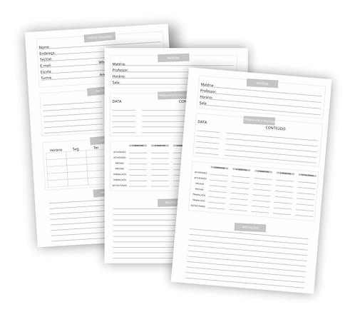 Arquivo digital Folha de rosto e divisória para caderno Universitário