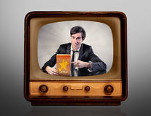 Man advertising a product on the televis