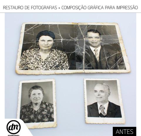 RESTAURO DE FOTOGRAFIAS ANTIGAS + COMPOSIÇÃO GRAFICA PARA IMPRESSÃO EM TELA