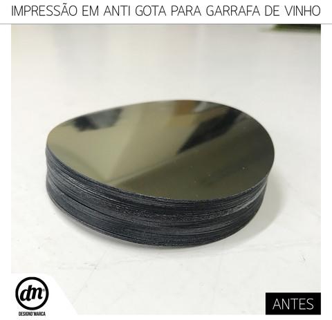 DESIGN GRÁFICO E IMPRESSÃO DIRETA EM ANTI-GOTA PARA GARRAFA DE VINHO