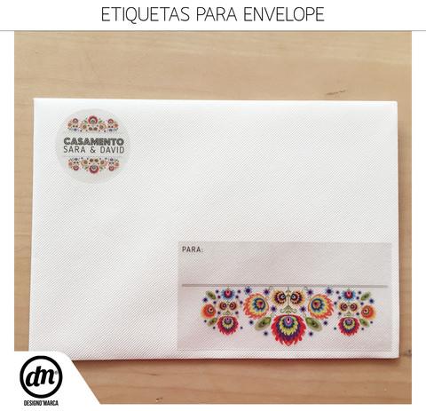 DESIGN GRÁFICO + PRODUÇÃO DE CONVITES DE CASAMENTO + ETIQUETAS PARA ENVELOPES
