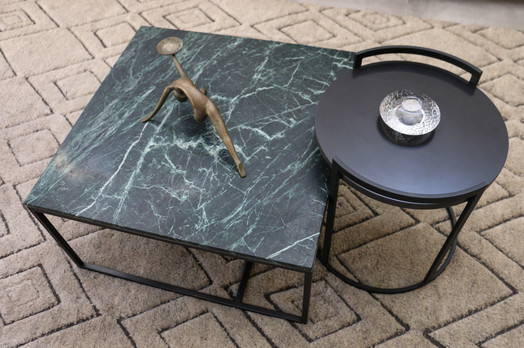 freshwater contemporary new build. Green marbel coffee table. Armadillo Gazelle rug.