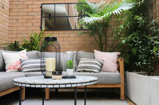 Courtyard - grey and timber seating area