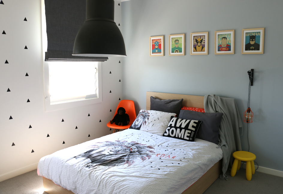 Freshwater - Boys Bedroom - industrial feel. Superhero touches.