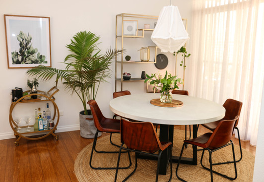 manly modern industrial dining room