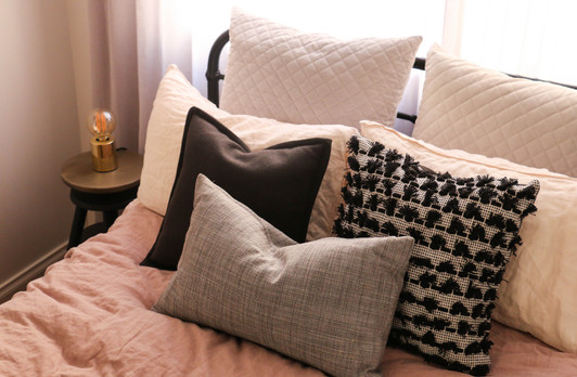 manly guest bedroom - modern industrial - grey pink