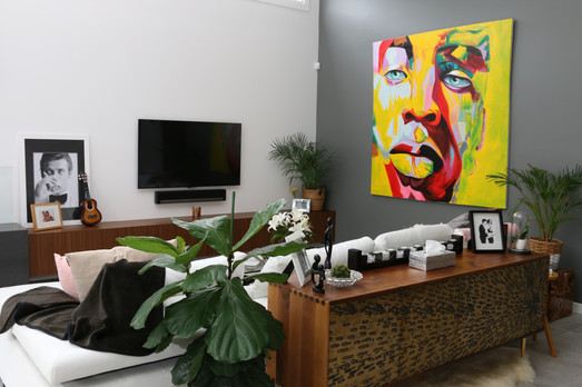Freshwater - contemporary living room with timber features and striking artwork
