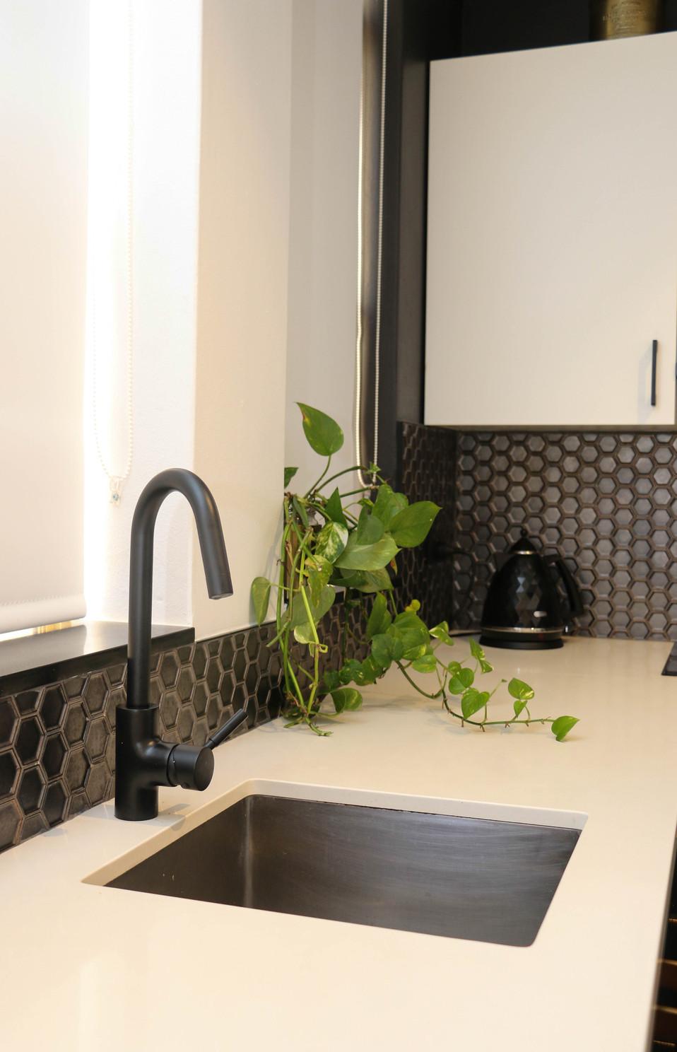 manly kitchen - modern industrial, black, white, brass mixer