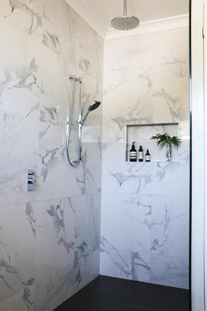 freshwater contemporary build. Calacatta marble bathroom ensuite.