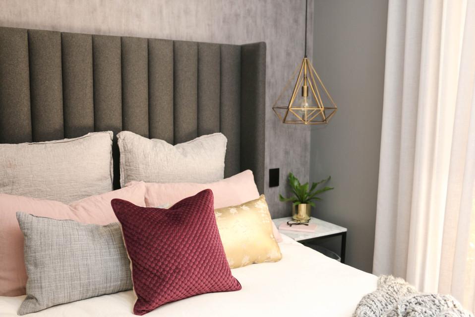 manly modern industrial - master bedroom, grey, white, black - concrete look wallpaper, custom bedhead