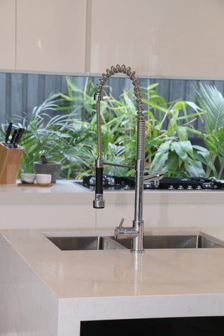 Freshwater - contemporary/industrial kitchen - black and white, feature sink mixer.