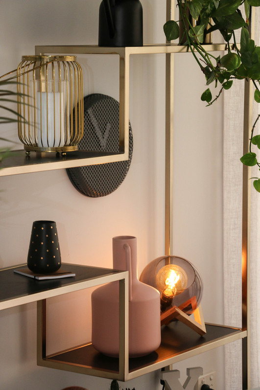 manly modern industrial dining room brass bookshelf