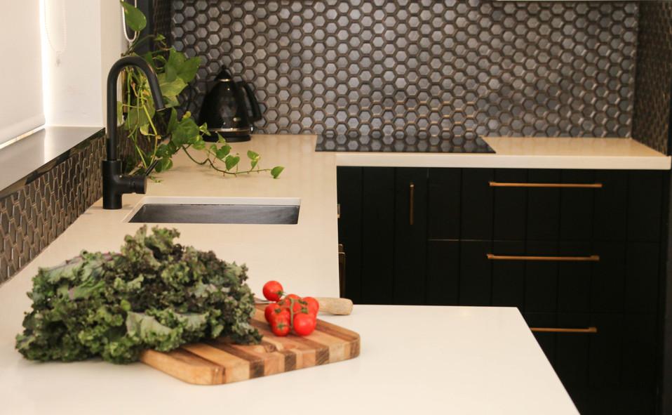 manly kitchen modern industrial - black, white, brass