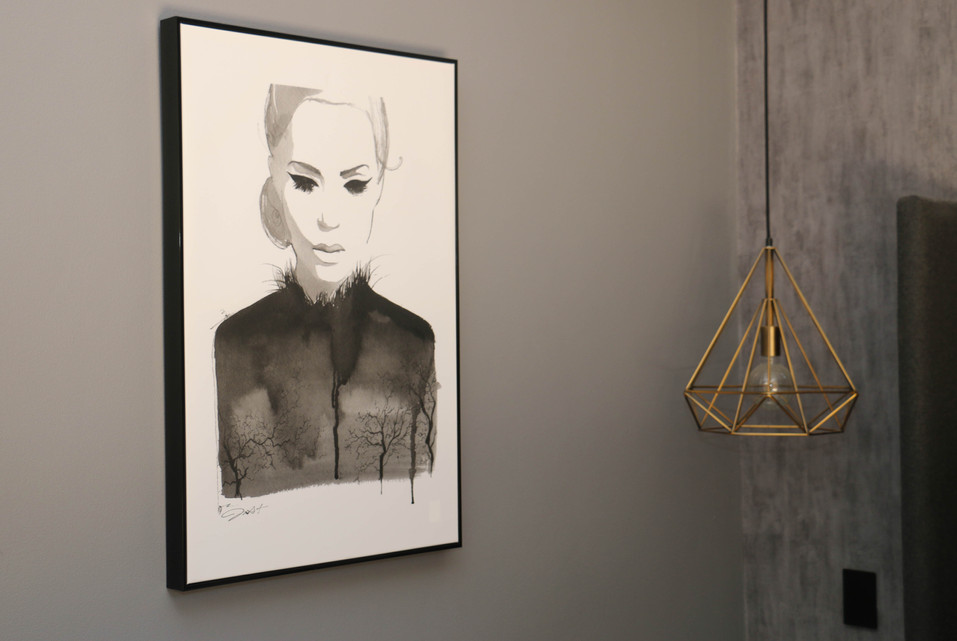 manly master bedroom - modern industrial, black white print, brass pendant cage light