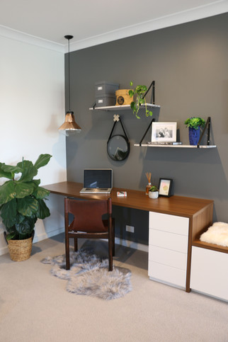 Freshwater - contemporary/industrial - Open study/office with inbuilt timber desk and floating marble and black steel shelves.