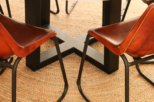 manly modern industrial dining room - leather chairs