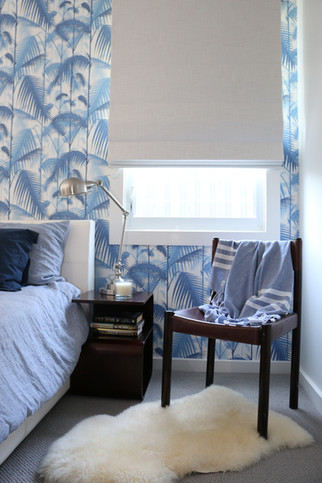 Freshwater - contemporary/industrial - Guest bedroom. Blue, white, grey. Cole & Son wallpaper - blue palm jungle design.