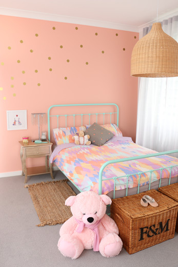 Freshwater - contemporary/industrial - Girls bedroom - Coral, white and grey. Mint wire bed frame. Rattan oversized pendant light.