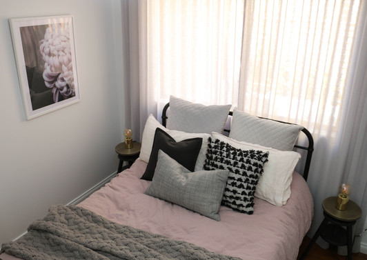 manly guest bedroom - modern industrial grey pink, soft sheers