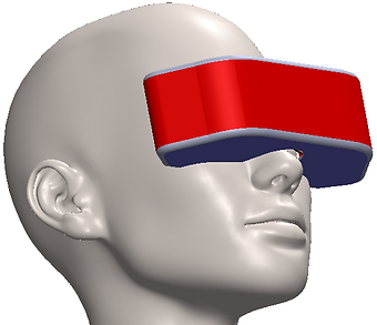Concept of VR270 - panormaic Virtual Reality headset covering 210deg Field of View + 2 x 30deg for the eyes rotations. Under R&D stage by Cinema2Go, patent pending