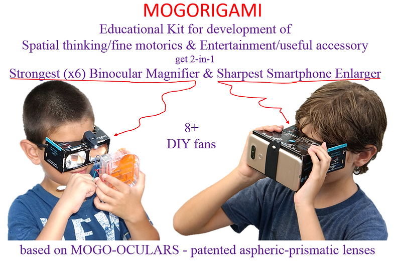 MOGORIGAMI optical origami for fun & education DIY binocular magnifier & viewfinder, improve spatial visual intelligence & fine motor skills!