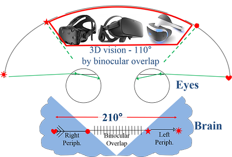 Human visual sytem has 210deg horizontal field of view and built to react on side stimuli with peripheral vision, however, best VR headsets supplies only 100 deg field of view and therefore, are not effective for apps requiring peripheral vision, such as flight/racers simulators, combat games