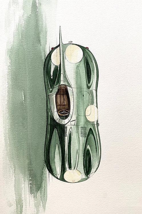Jaguar D-Type Watercolour