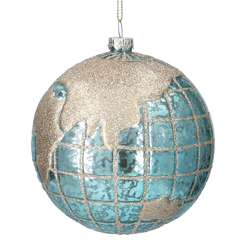 Blue/Gold Glass 'Planet Earth' Ball