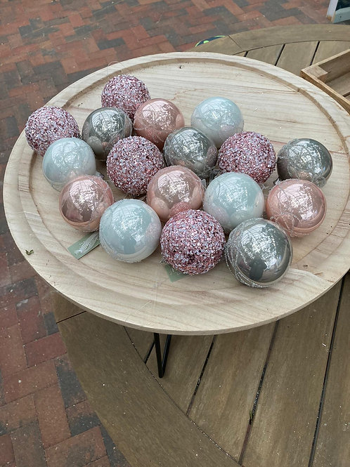 Pinks, whites and Silver Bauble Bundle