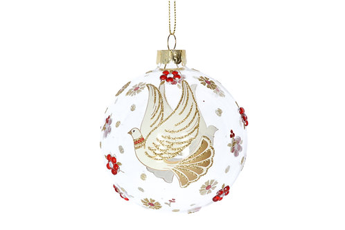 Cream/Gold/Red Dove Glass Bauble