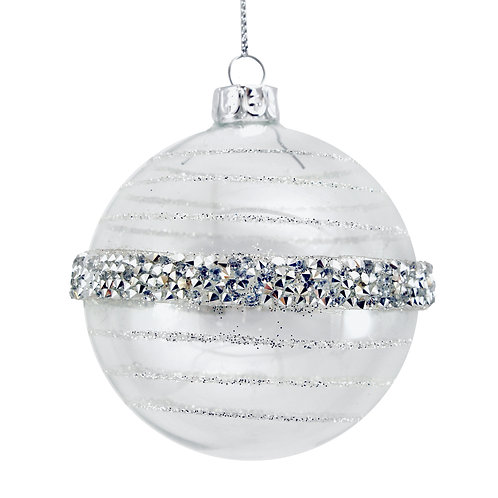 Clear Glass Ball with Crushed Silver Band