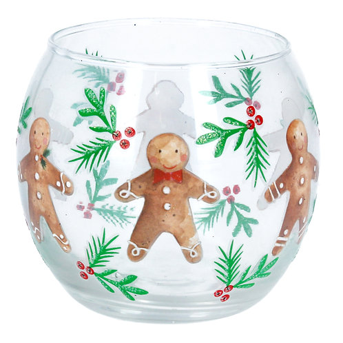 Gingerbread Glass Tea Light Holder