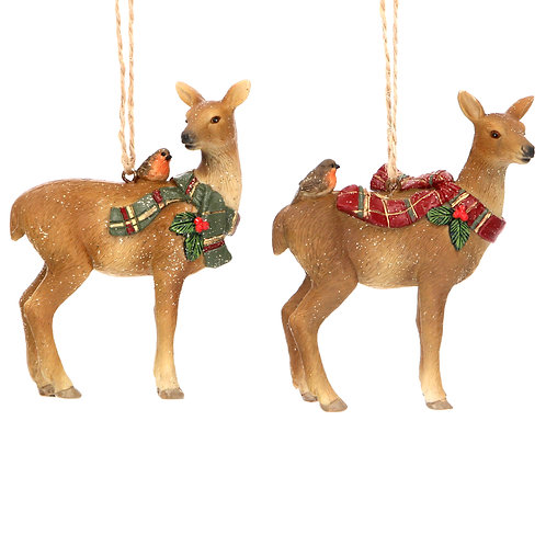 Resin Deer with Tartan Scarf Decoration