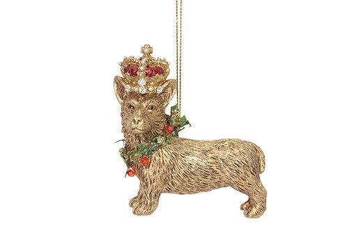 Gold Corgi with Crown decoration