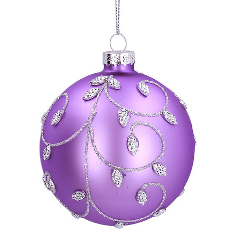 Matt Lilac Bauble with Silver Bead Vine