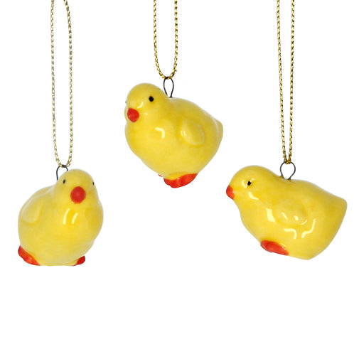 Yellow Ceramic Chick Decoration