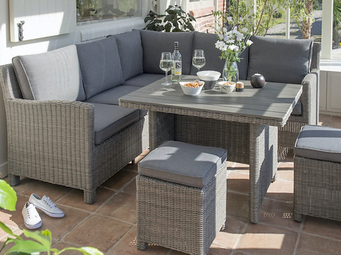 Kettler Palma Mini Corner Suite with Glass Top table in Rattan