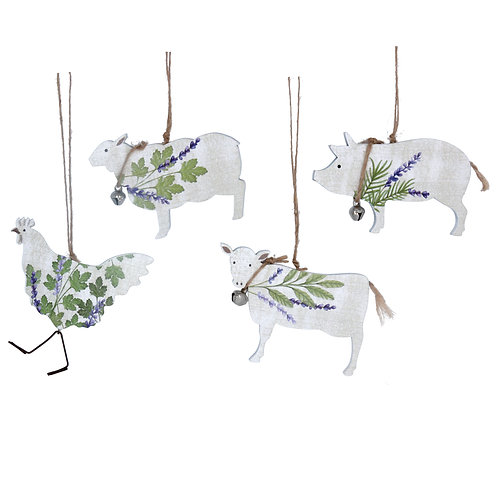 Herbs/Lavender Hen, Sheep, Pig and Cow
