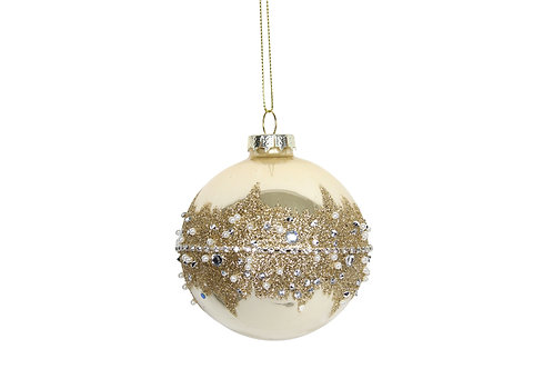 Gold Glass Bauble with Diamante/Glitter Bank