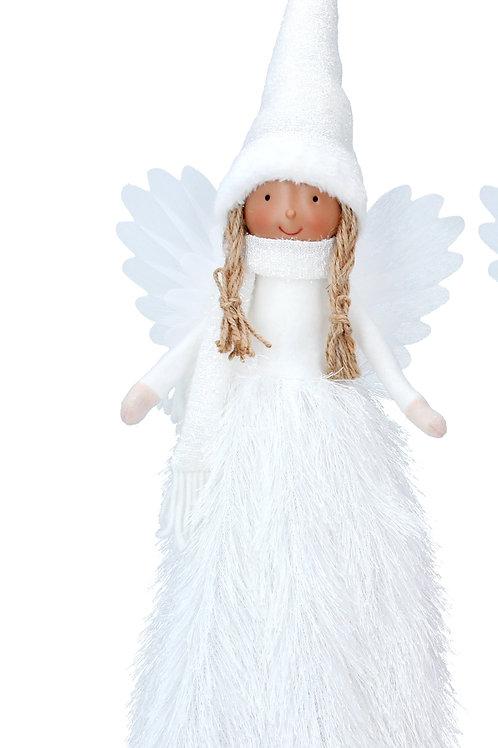 Faux Fur White LED Tree topper Fairy