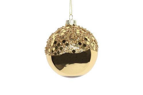 Shiny Gold Glass Bauble with Gold Glitter Top