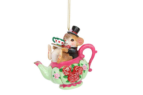 Dormouse in a Teapot Decoration